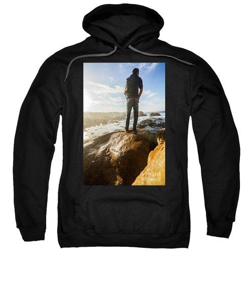 Tourist Looking At The Ocean Sweatshirt
