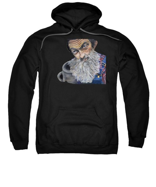Popcorn Sutton Shines With Transparent Background -for T-shirts And Other Fabric Items- Moonshine Sweatshirt