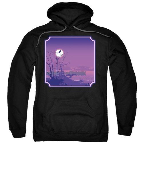 Tropical Birds Sunset Purple Abstract - Square Format Sweatshirt