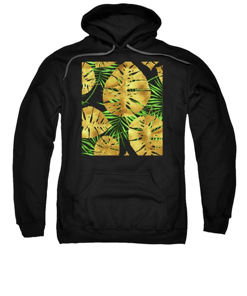 Tropical Haze Noir II Gold Monstera Leaves, Green Palm Fronds Sweatshirt