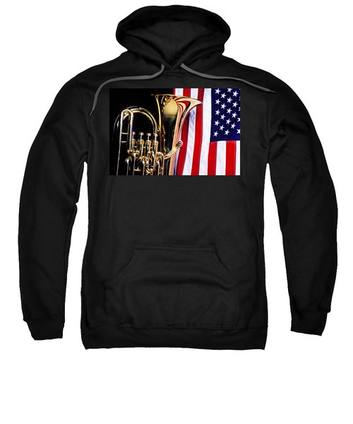 Tuba And American Flag Sweatshirt