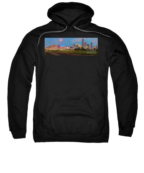 Twilight Panorama Of Downtown Houston Skyline And University Of Houston - Harris County Texas Sweatshirt