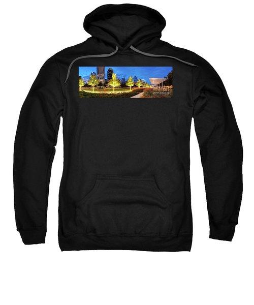 Twilight Panorama Of Klyde Warren Park And Downtown Dallas Skyline - North Texas Sweatshirt