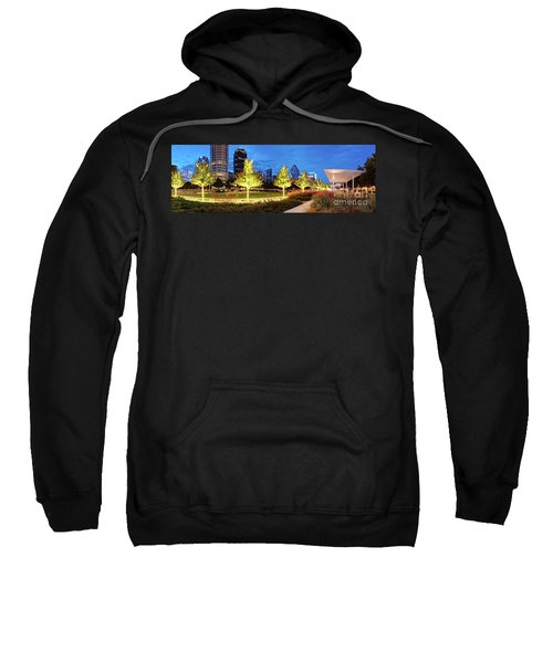 Twilight Panorama Of Klyde Warren Park And Downtown Dallas Skyline - North Texas Sweatshirt