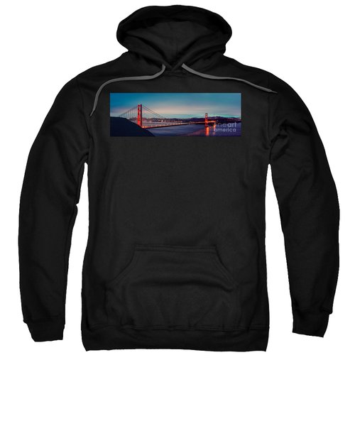 Twilight Panorama Of The Golden Gate Bridge From The Marin Headlands - San Francisco California Sweatshirt