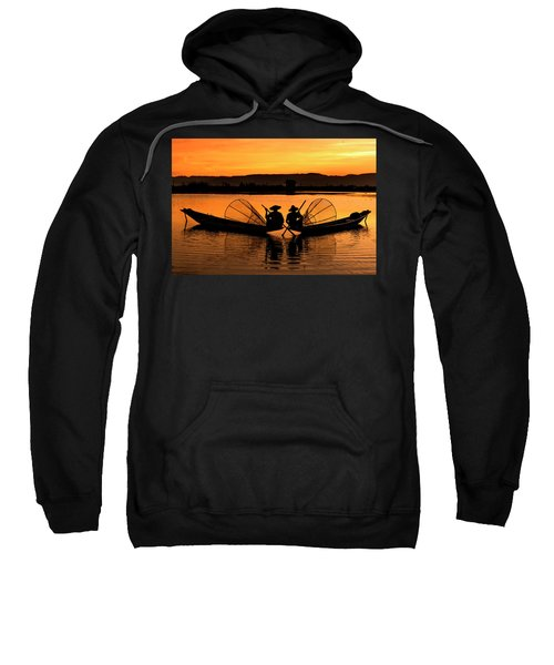 Two Fisherman At Sunset Sweatshirt