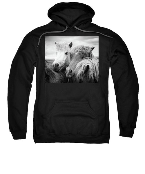 Two Icelandic Horses Black And White Sweatshirt