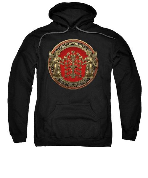 Two Instances Of Gold God Ninurta With Tree Of Life Black Velvet Sweatshirt