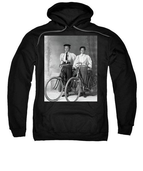 Two Young Ladies With Their Bicycles Circa 1895 Sweatshirt