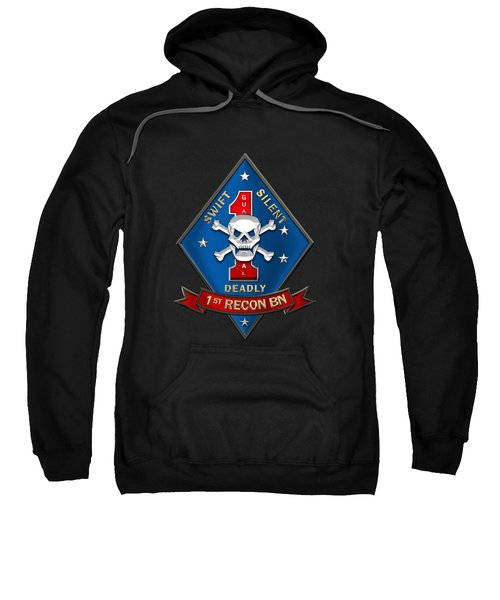U S M C  1st Reconnaissance Battalion -  1st Recon Bn Insignia Over Black Velvet Sweatshirt