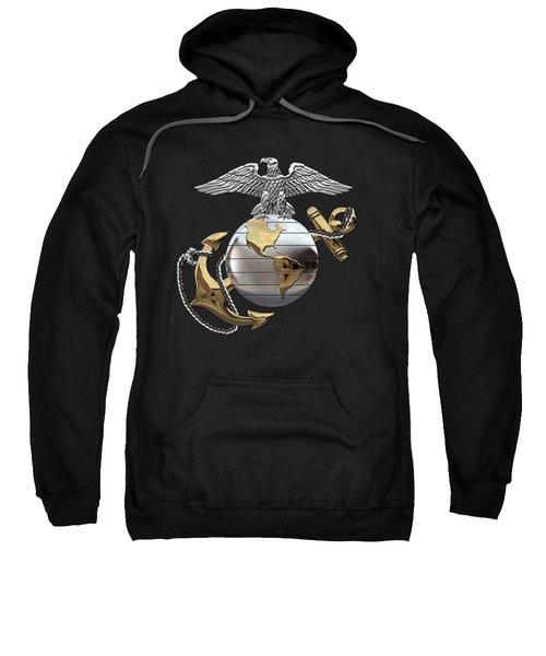 U S M C Eagle Globe And Anchor - C O And Warrant Officer E G A Over Black Velvet Sweatshirt