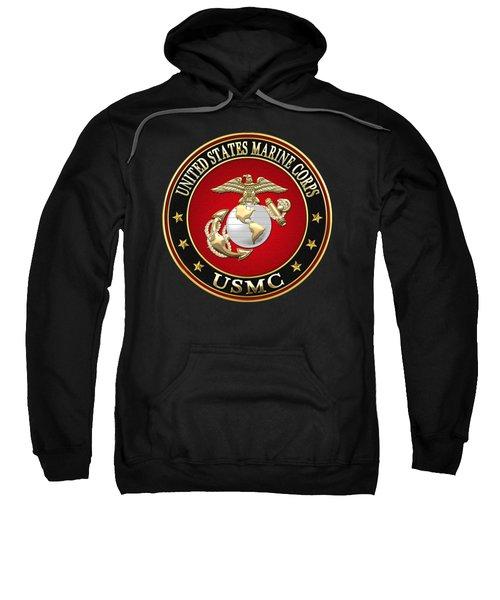 U S M C Eagle Globe And Anchor - E G A On Black Velvet Sweatshirt