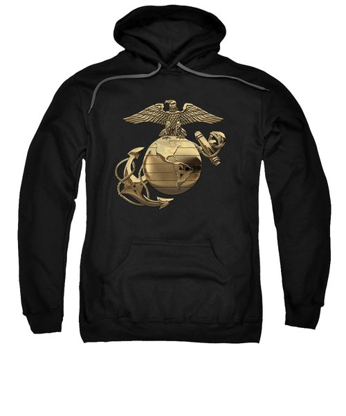 U S M C Eagle Globe And Anchor - N C O And Enlisted E G A Over Black Velvet Sweatshirt