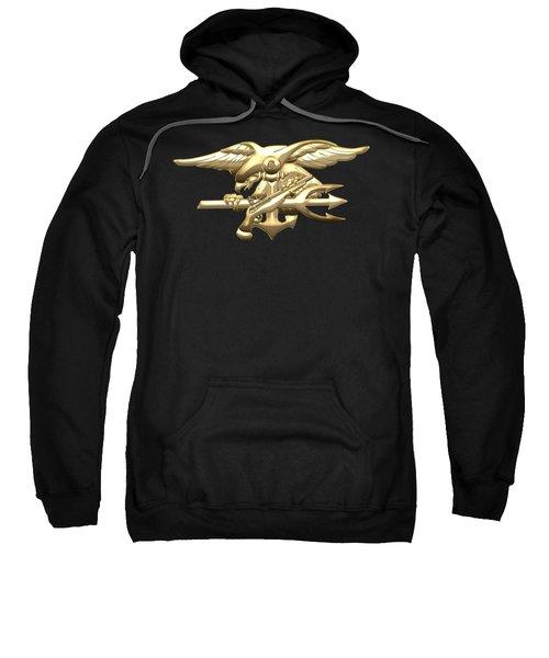 U. S. Navy S E A Ls Emblem On Black Velvet Sweatshirt