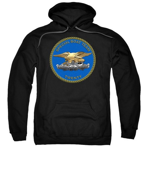 U. S. Navy S W C C - Special Boat Team 20   -  S B T 20   Patch Over Black Velvet Sweatshirt