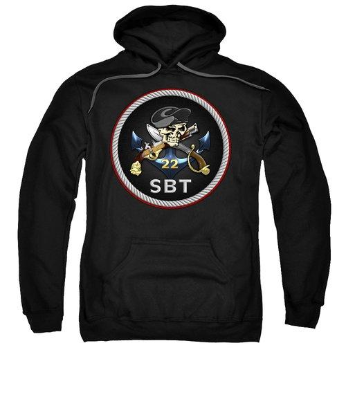 U. S. Navy S W C C - Special Boat Team 22  -  S B T 22  Patch Over Black Velvet Sweatshirt