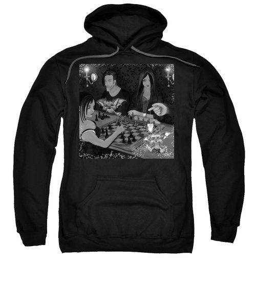Unexpected Company - Black And White Fantasy Art Sweatshirt