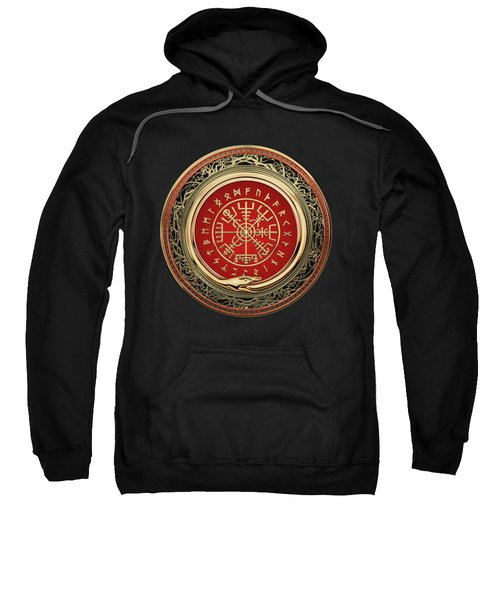 Vegvisir - A Gold Magic Viking Runic Compass On Black Leather Sweatshirt