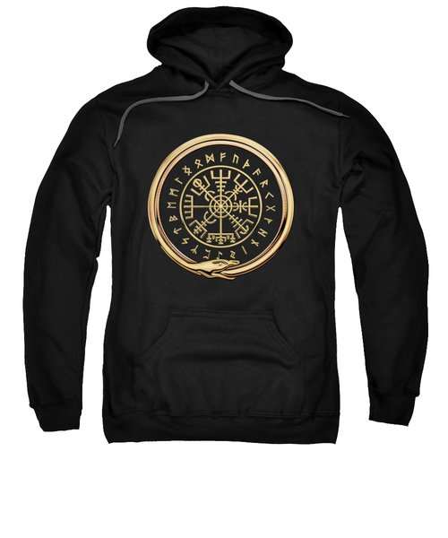 Vegvisir - A Magic Icelandic Viking Runic Compass - Gold On Black Sweatshirt