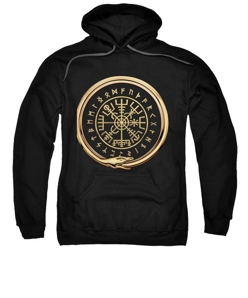 Vegvisir - A Magic Icelandic Viking Runic Compass - Gold On Black Sweatshirt