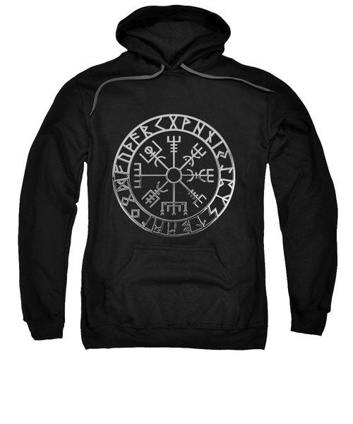 Vegvisir - A Magic Icelandic Viking Runic Compass - Silver On Black Sweatshirt