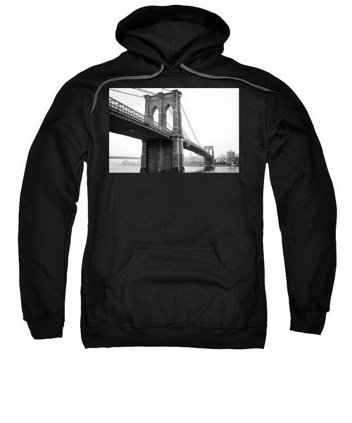View Brooklyn Bridge With Foggy City In The Background Sweatshirt