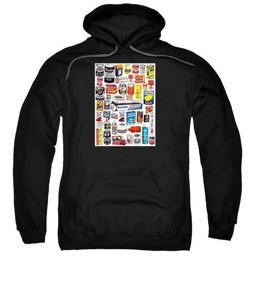 Sweatshirt featuring the digital art Vintage American Brands by ReInVintaged