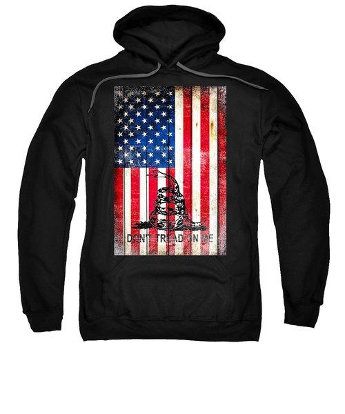 Viper On American Flag On Old Wood Planks Vertical Sweatshirt