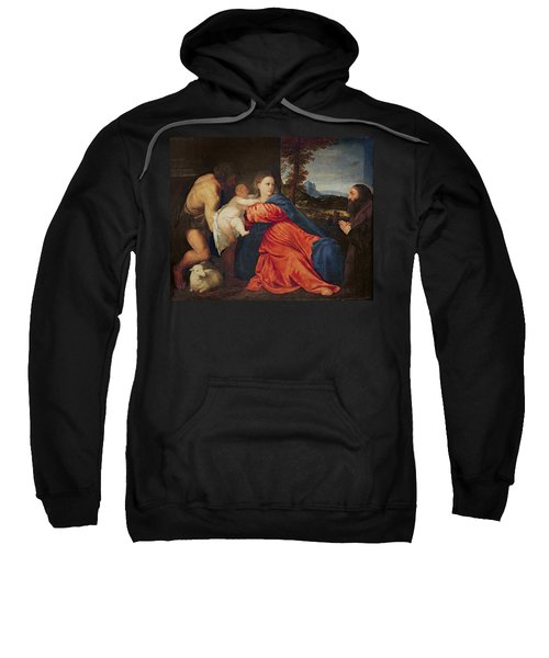 Virgin And Infant With Saint John The Baptist And Donor Sweatshirt