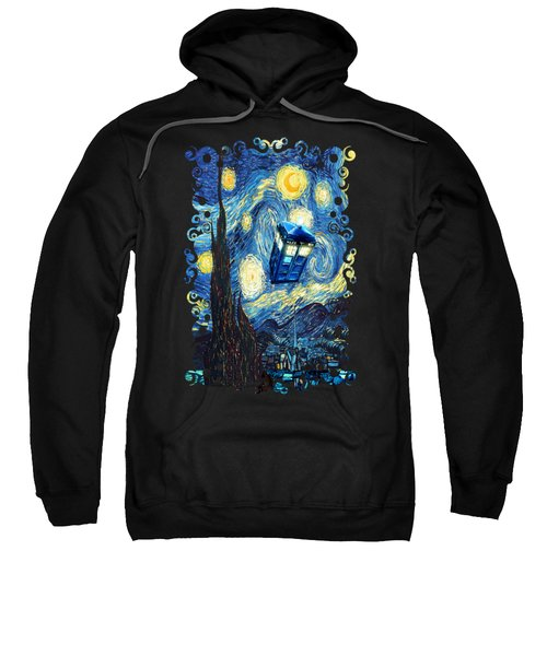 Weird Flying Phone Booth Starry The Night Sweatshirt by Three Second