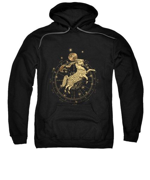 Western Zodiac - Golden Aries -the Ram On Black Canvas Sweatshirt