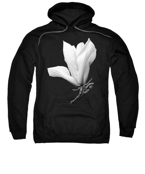 White Magnolia On Black Sweatshirt