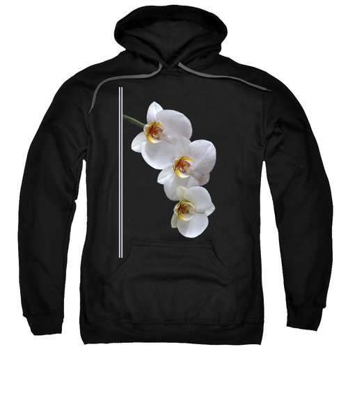 White Orchids On Black Vertical Sweatshirt by Gill Billington