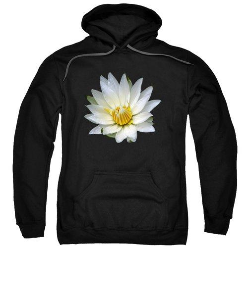 White Waterlily With Dewdrops Sweatshirt