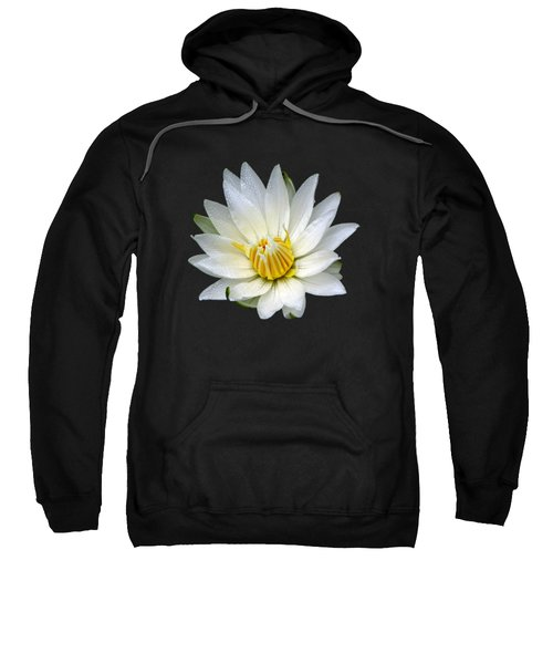 White Waterlily With Dewdrops Sweatshirt