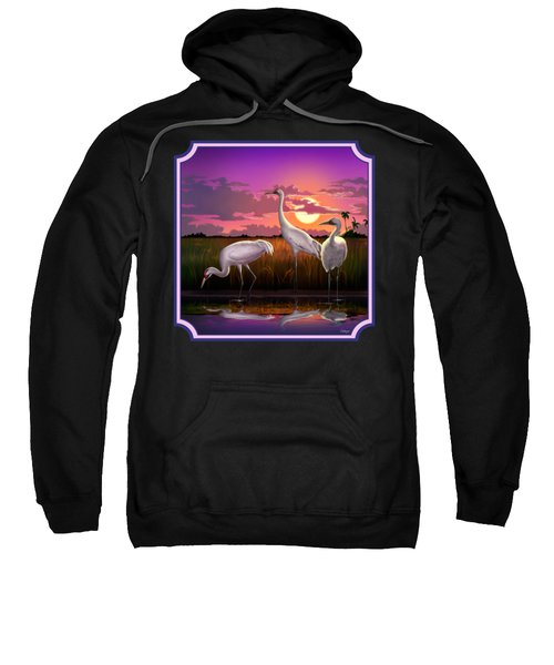 Whooping Cranes At Sunset Tropical Landscape - Square Format Sweatshirt