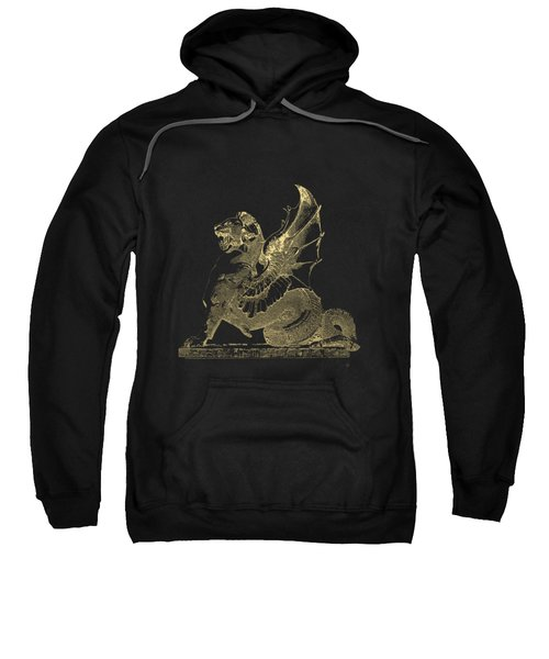 Winged Dragon Chimera From Fontaine Saint-michel, Paris In Gold On Black Sweatshirt by Serge Averbukh