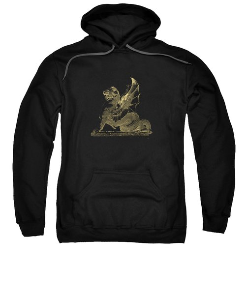 Winged Dragon Chimera From Fontaine Saint-michel, Paris In Gold On Black Sweatshirt