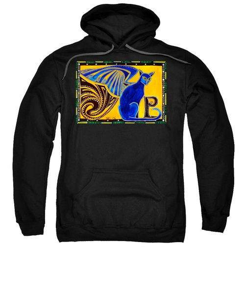 Winged Feline - Cat Art With Letter P By Dora Hathazi Mendes Sweatshirt by Dora Hathazi Mendes