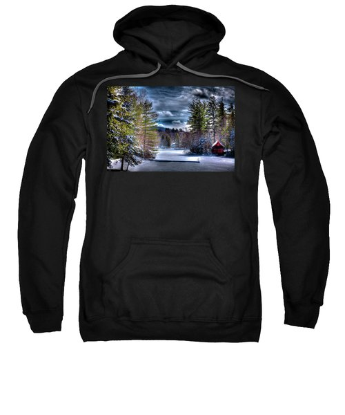 Sweatshirt featuring the photograph Winter At The Boathouse by David Patterson