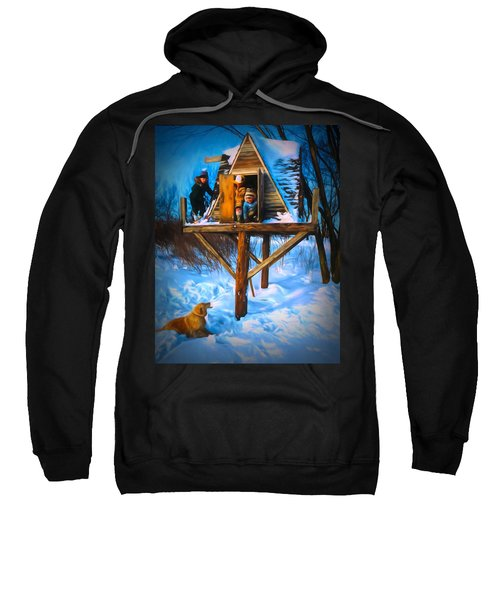 Winter Scene Three Kids And Dog Playing In A Treehouse Sweatshirt