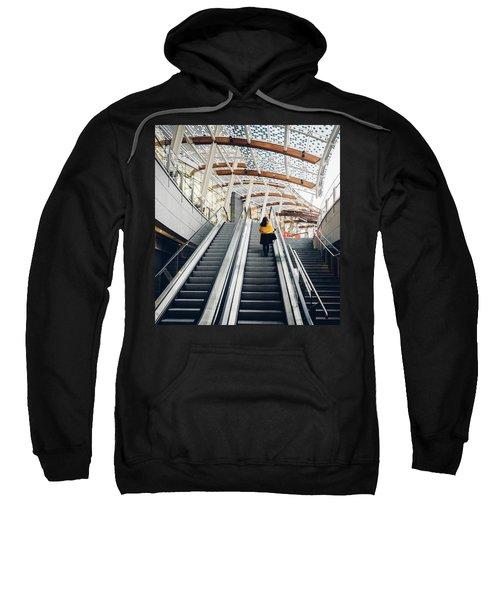 Woman Going Up Escalator In Milan, Italy Sweatshirt