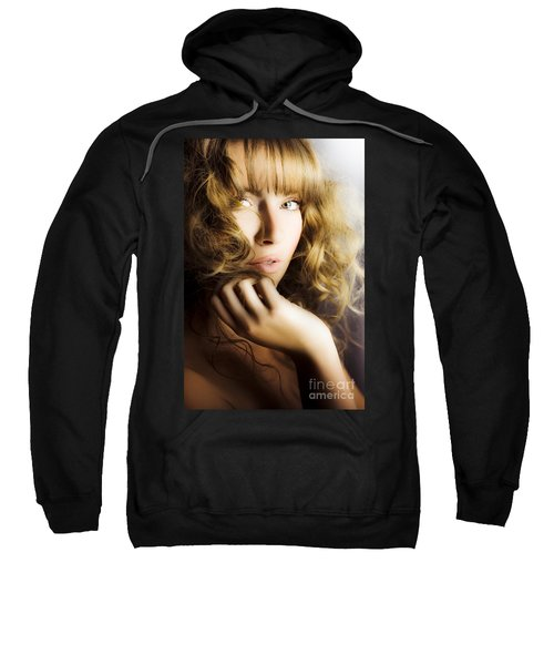 Woman With Beautiful Wavy Hair Sweatshirt