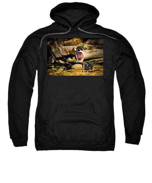 Wood Ducks In Autumn Waters Sweatshirt