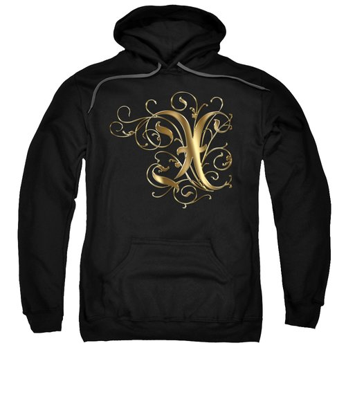 X Golden Ornamental Letter Typography Sweatshirt