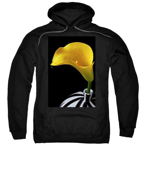 Yellow Calla Lily In Black And White Vase Sweatshirt