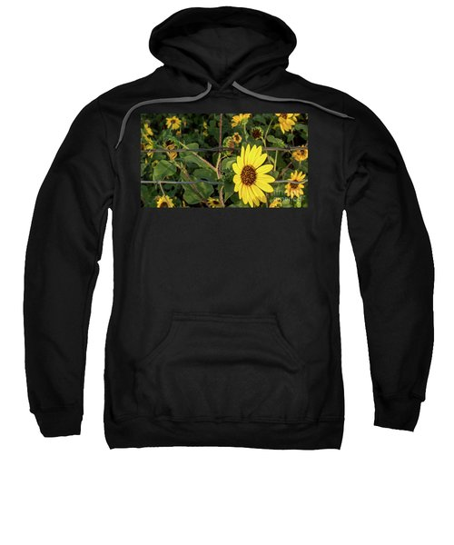 Yellow Flower Escaping From A Barb Wire Fence Sweatshirt