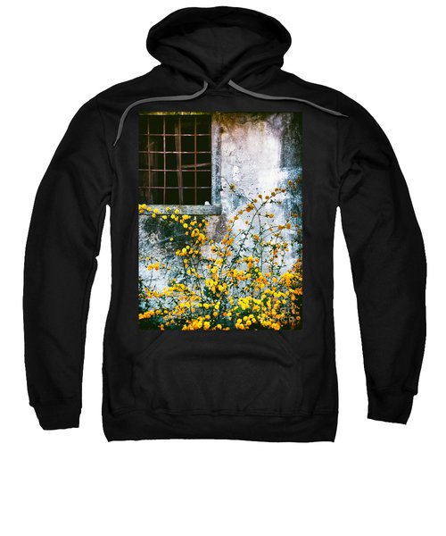 Sweatshirt featuring the photograph Yellow Flowers And Window by Silvia Ganora