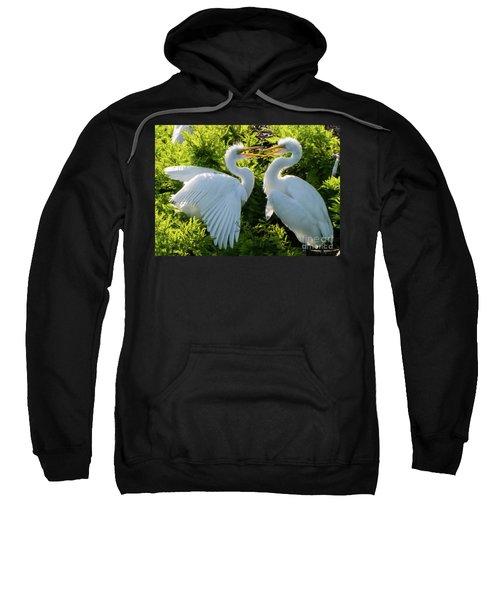 Young Great Egrets Playing Sweatshirt