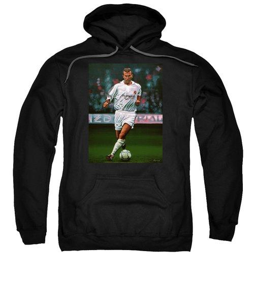 Zidane At Real Madrid Painting Sweatshirt by Paul Meijering